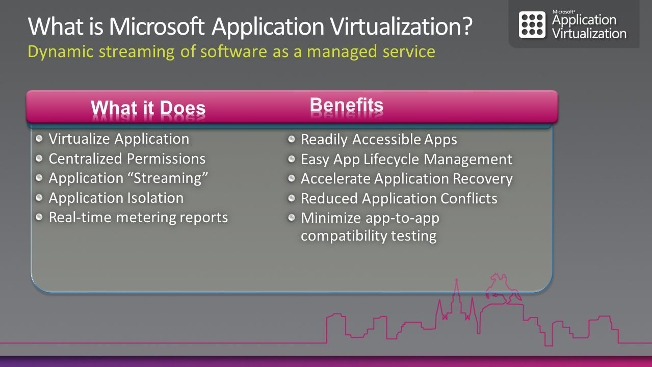 What it does Creates a package of a single application Eliminates software install What it is good for Resolve conflicts between applications Simplify application delivery and testing What it does Creates a package with a full OS What it is good for Resolve incompatibility between applications and a new OS Run two environments on a single PC (e.g.