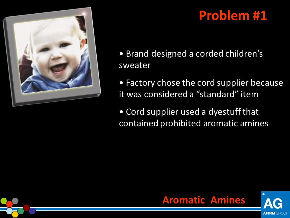 Brand designed a corded childrens sweater Factory chose the cord supplier because it was considered a standard item Cord supplier used a dyestuff that