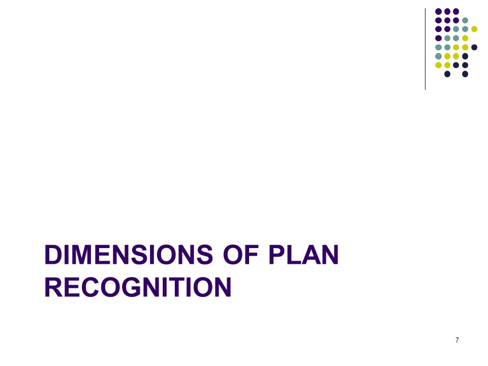 DIMENSIONS OF PLAN RECOGNITION 7