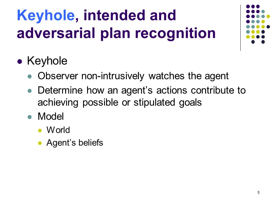 Keyhole, intended and adversarial plan recognition Keyhole Observer non-intrusively watches the agent Determine how an agents actions contribute to ac