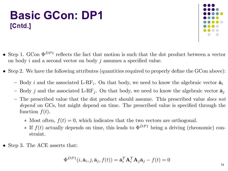 Basic GCon: DP1 [Cntd.] 14