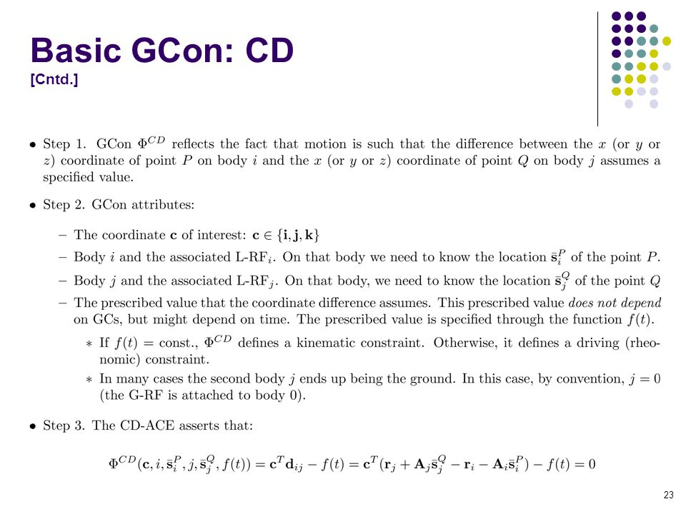 Basic GCon: CD [Cntd.] 23
