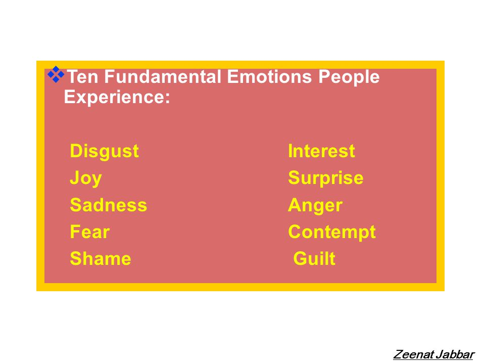 Ten Fundamental Emotions People Experience: Disgust Interest Joy Surprise SadnessAnger FearContempt Shame Guilt Zeenat Jabbar