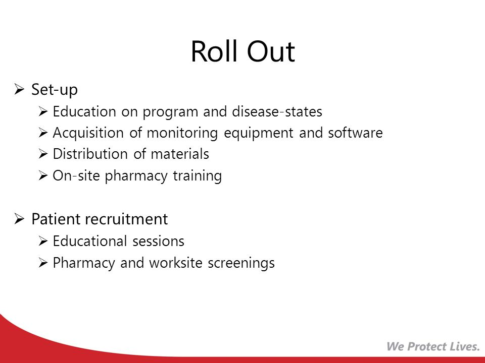 Roll Out Set-up Education on program and disease-states Acquisition of monitoring equipment and software Distribution of materials On-site pharmacy training Patient recruitment Educational sessions Pharmacy and worksite screenings