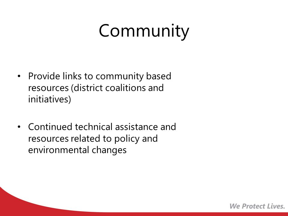 Community Provide links to community based resources (district coalitions and initiatives) Continued technical assistance and resources related to policy and environmental changes