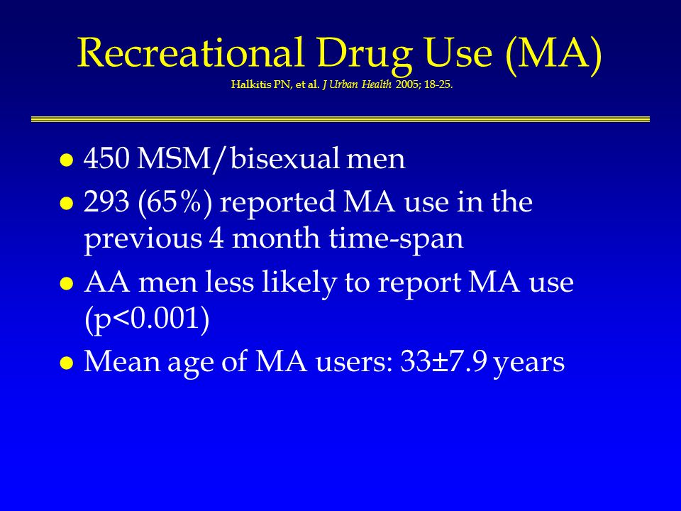 Recreational Drug Use (MA) Halkitis PN, et al. J Urban Health 2005; 18-25.