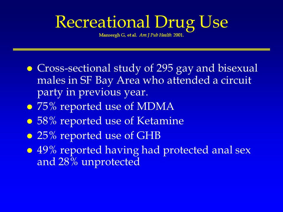 Recreational Drug Use Mansergh G, et al. Am J Pub Health 2001.