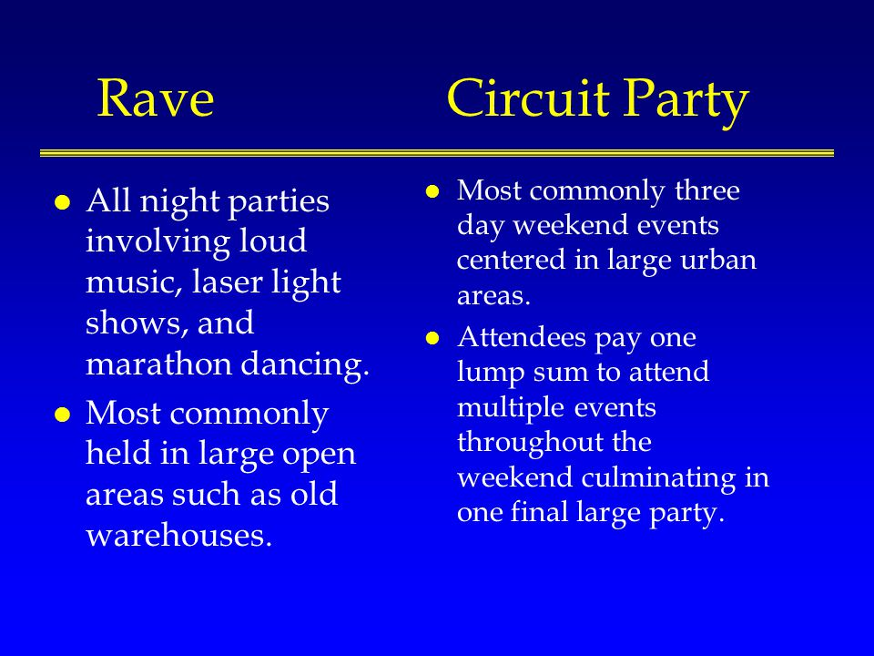 RaveCircuit Party l All night parties involving loud music, laser light shows, and marathon dancing.