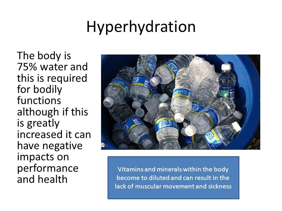 Hypohydration Very rare in sports performance when an athlete is extremely de-hydrated up to 20% from a normal resting state.