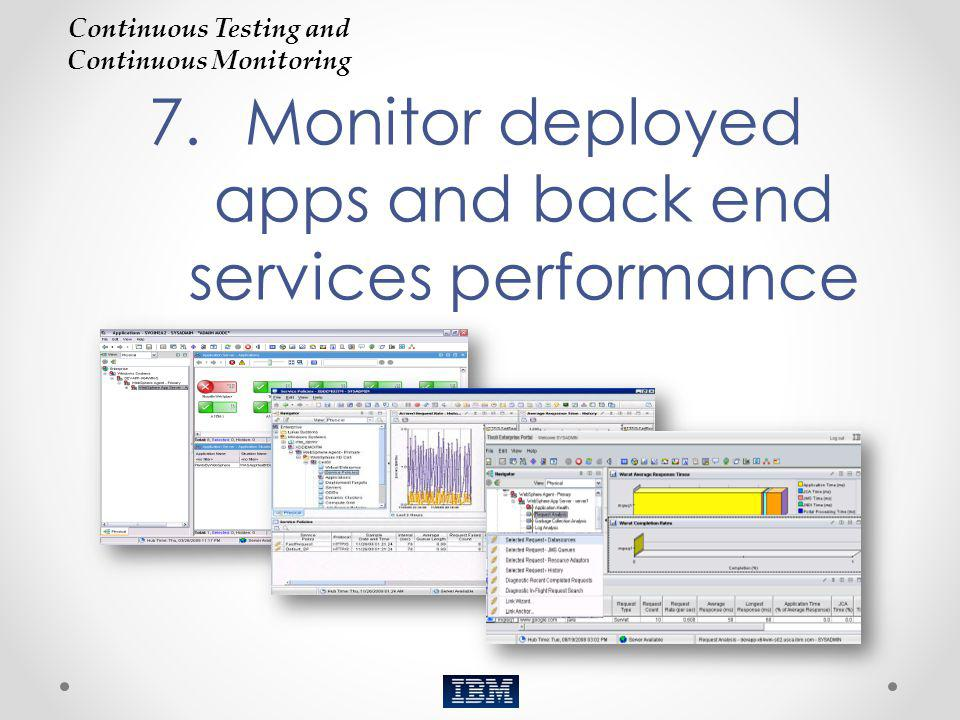 7.Monitor deployed apps and back end services performance Continuous Testing and Continuous Monitoring