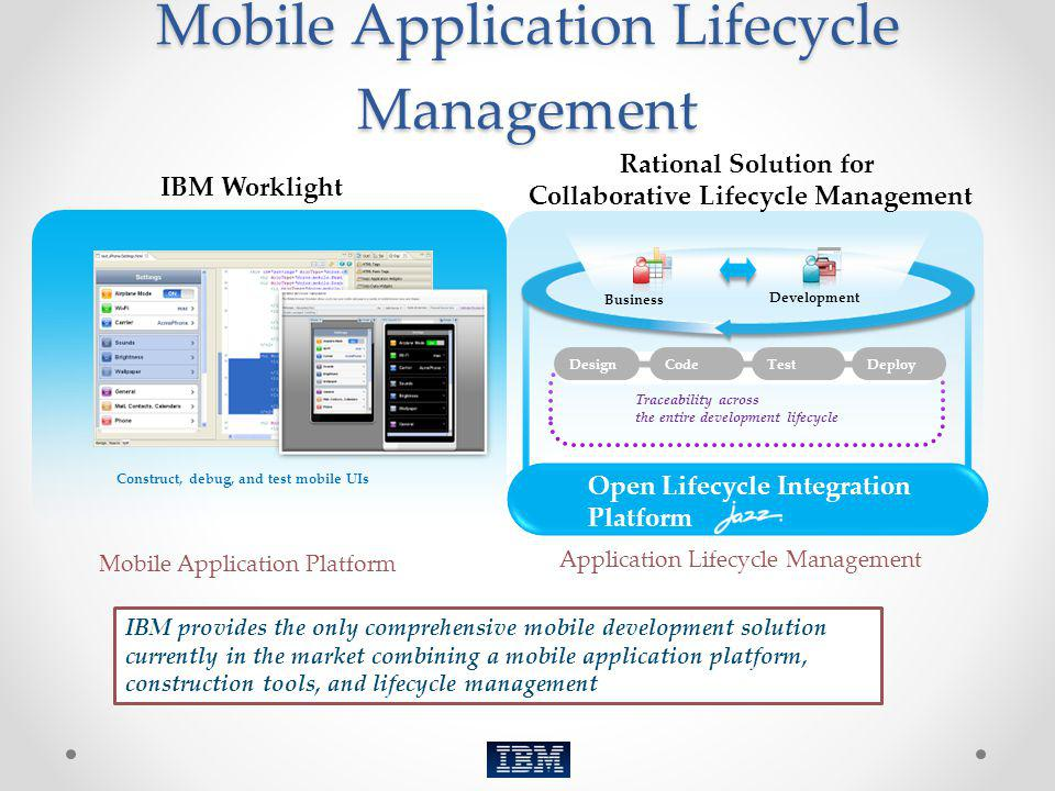 Mobile Application Lifecycle Management Mobile Application Platform Application Lifecycle Management IBM provides the only comprehensive mobile develo