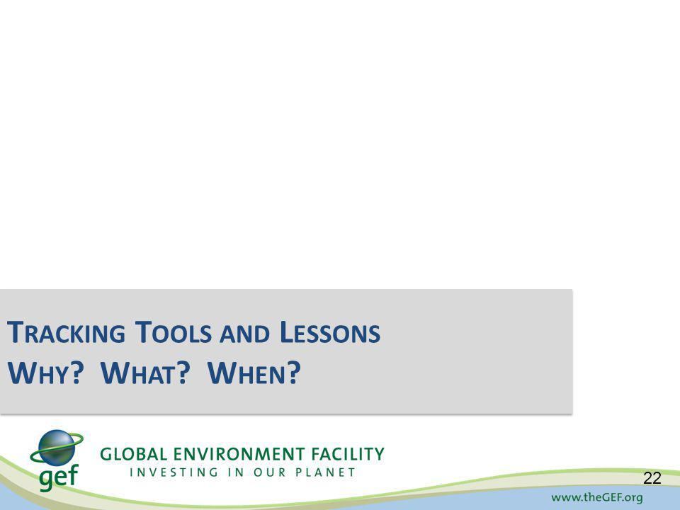 Tracking Tools and Lessons Why. What. When. 22 T RACKING T OOLS AND L ESSONS W HY .
