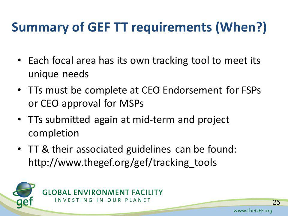 Summary of GEF TT requirements (When ) Each focal area has its own tracking tool to meet its unique needs TTs must be complete at CEO Endorsement for FSPs or CEO approval for MSPs TTs submitted again at mid-term and project completion TT & their associated guidelines can be found: http://www.thegef.org/gef/tracking_tools 25