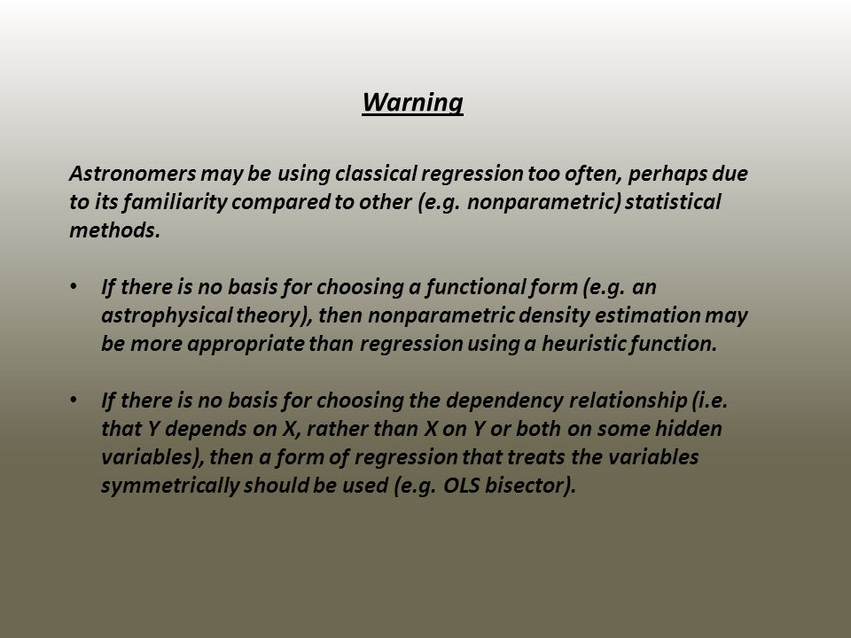 The error term There may be different causes of the scatter: It could be intrinsic to the underlying population (`equation error).