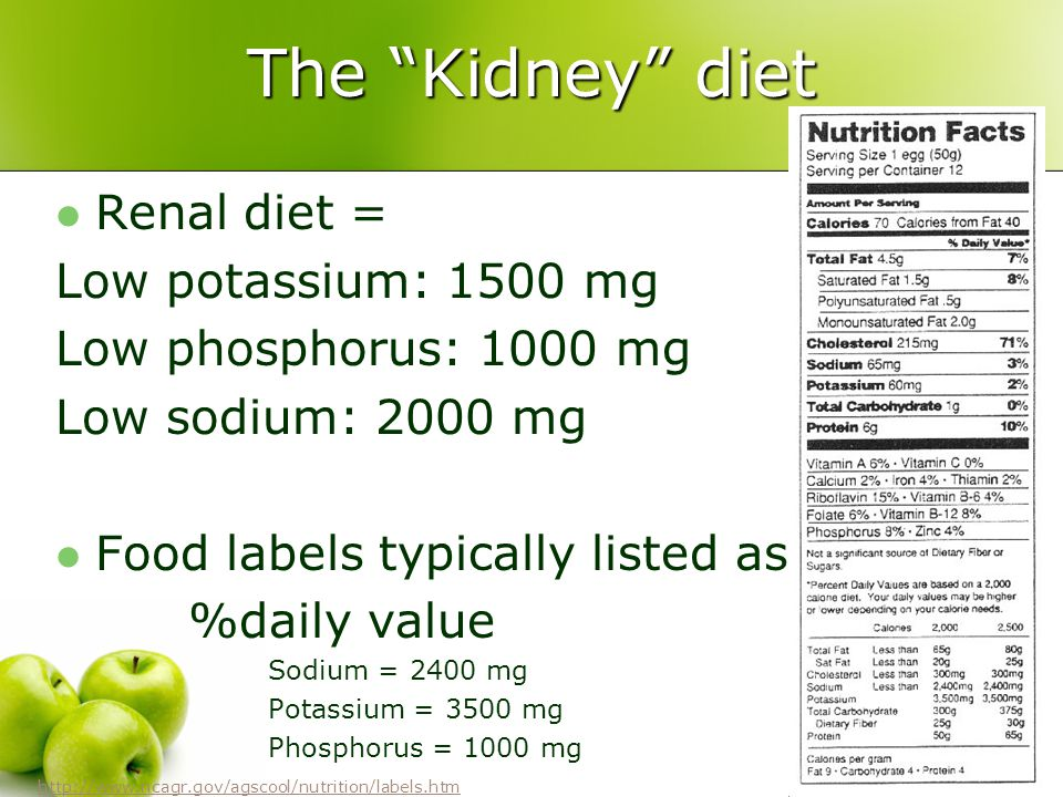 The Kidney diet Renal diet = Low potassium: 1500 mg Low phosphorus: 1000 mg Low sodium: 2000 mg Food labels typically listed as %daily value Sodium =