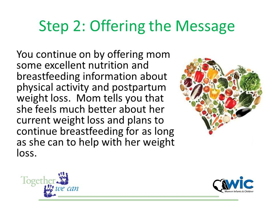 Step 2: Offering the Message You continue on by offering mom some excellent nutrition and breastfeeding information about physical activity and postpa