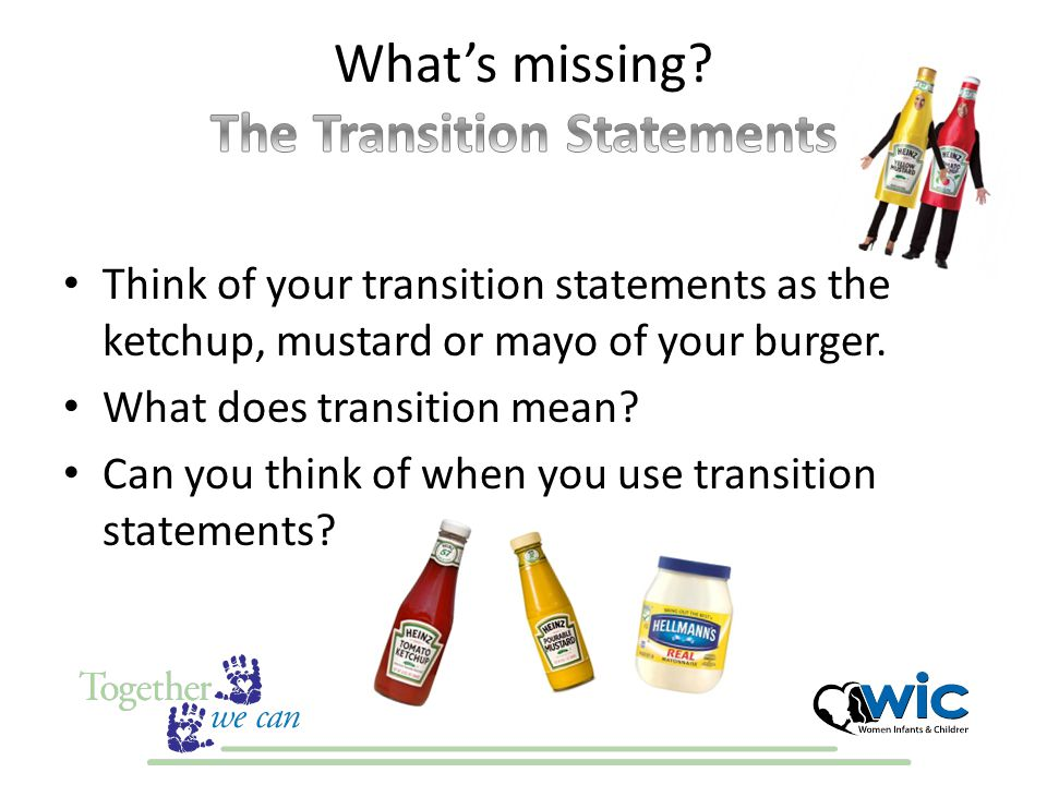 Think of your transition statements as the ketchup, mustard or mayo of your burger. What does transition mean? Can you think of when you use transitio