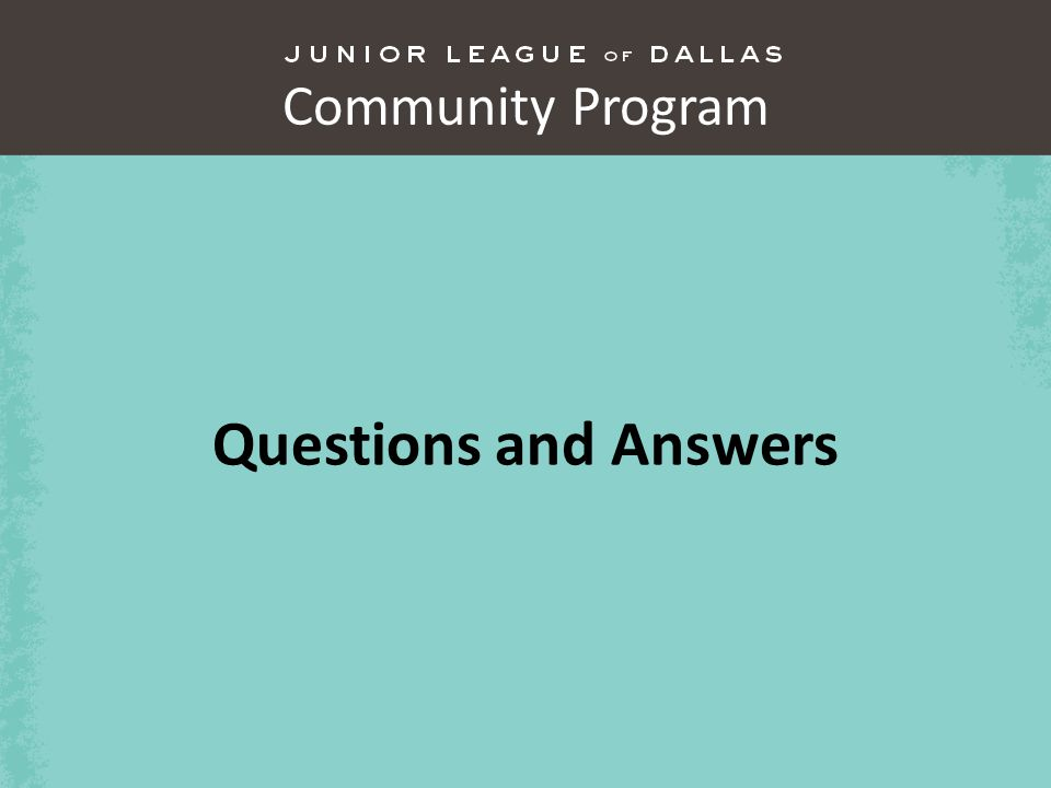 Community Program Questions and Answers