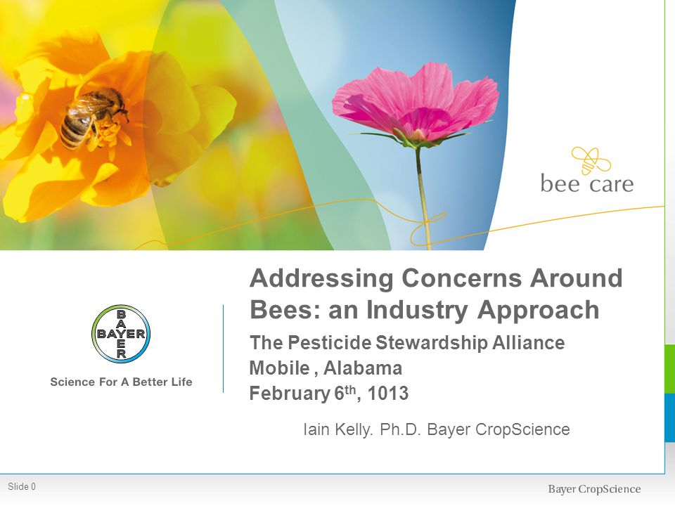 Addressing Concerns Around Bees: an Industry Approach The Pesticide Stewardship Alliance Mobile, Alabama February 6 th, 1013 Iain Kelly. Ph.D. Bayer C
