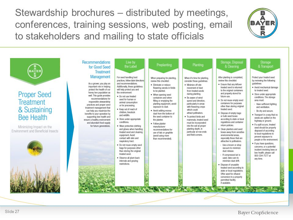 Stewardship brochures – distributed by meetings, conferences, training sessions, web posting, email to stakeholders and mailing to state officials Sli