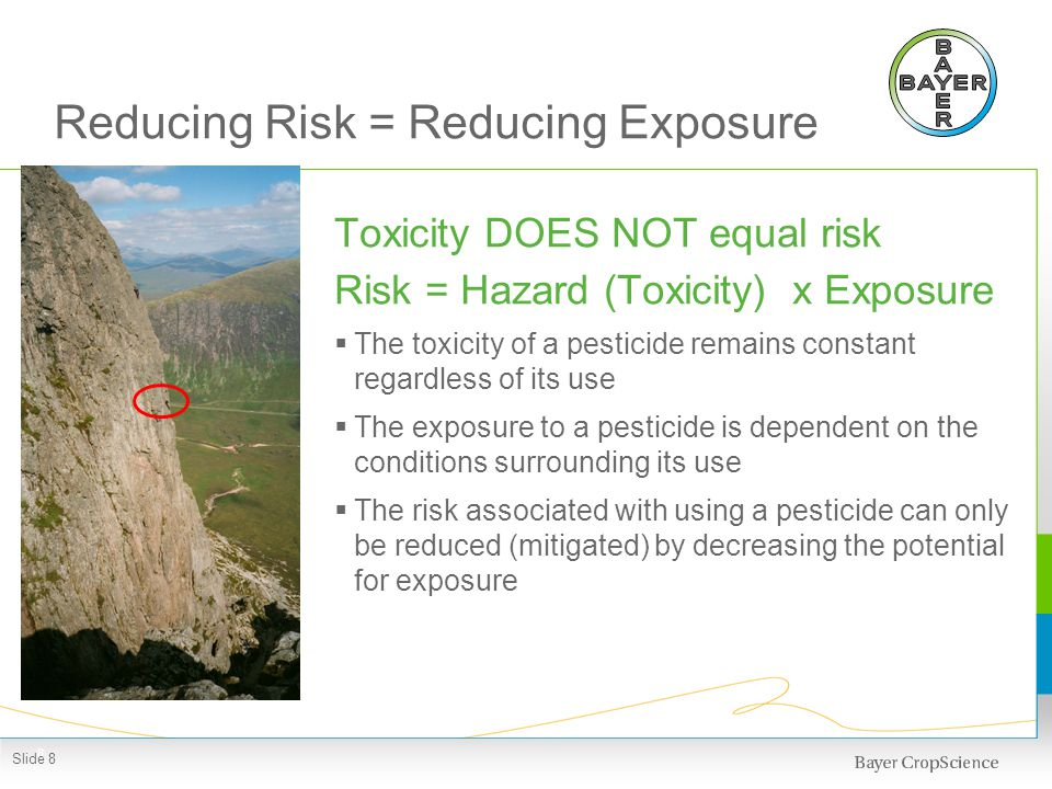 Reducing Risk = Reducing Exposure Toxicity DOES NOT equal risk Risk = Hazard (Toxicity) x Exposure The toxicity of a pesticide remains constant regard