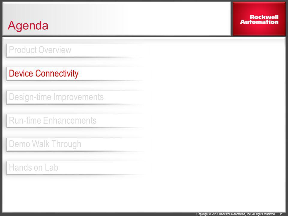 Copyright © 2013 Rockwell Automation, Inc. All rights reserved. Agenda 11 Design-time Improvements Device Connectivity Product Overview Run-time Enhan