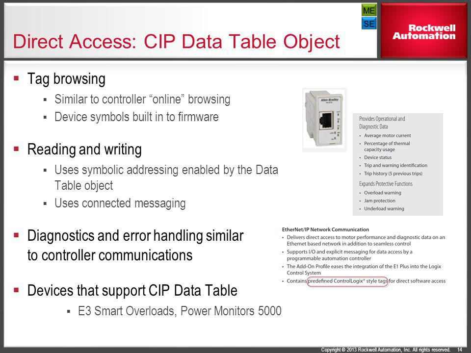 Copyright © 2013 Rockwell Automation, Inc. All rights reserved. Direct Access: CIP Data Table Object Tag browsing Similar to controller online browsin