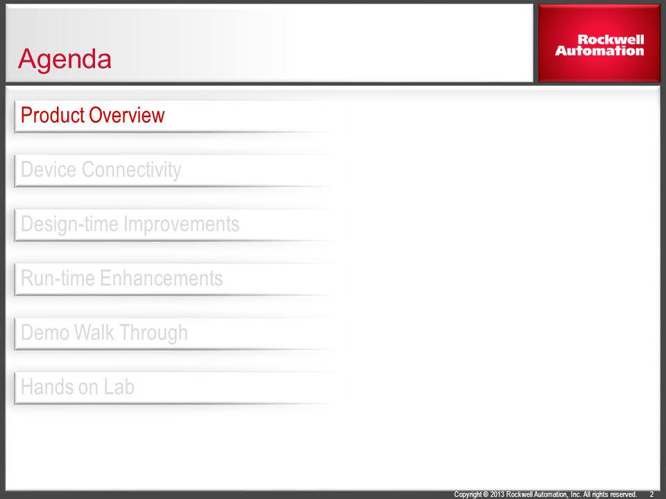 Copyright © 2013 Rockwell Automation, Inc. All rights reserved. Agenda 2 Design-time Improvements Device Connectivity Product Overview Run-time Enhanc