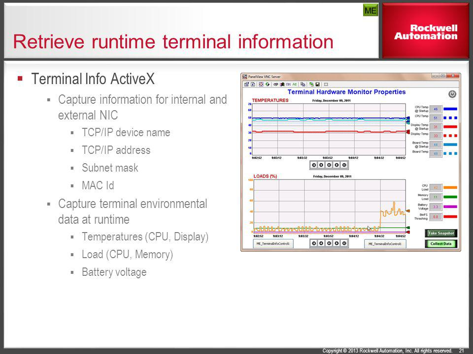 Copyright © 2013 Rockwell Automation, Inc. All rights reserved. Retrieve runtime terminal information Terminal Info ActiveX Capture information for in