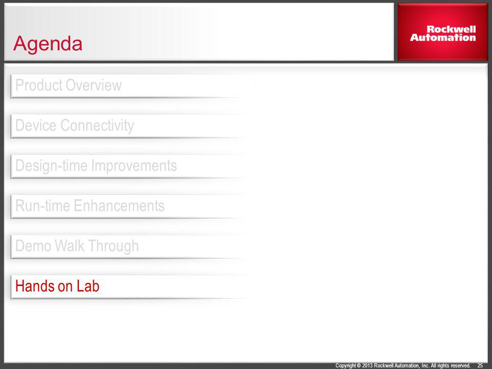 Copyright © 2013 Rockwell Automation, Inc. All rights reserved. Agenda 25 Design-time Improvements Device Connectivity Product Overview Run-time Enhan