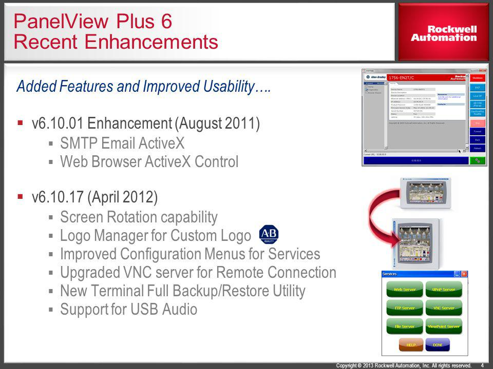 Copyright © 2013 Rockwell Automation, Inc. All rights reserved. PanelView Plus 6 Recent Enhancements Added Features and Improved Usability…. v6.10.01