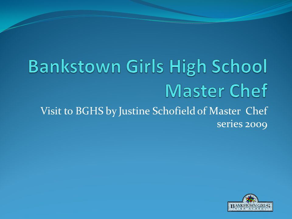 Visit to BGHS by Justine Schofield of Master Chef series 2009