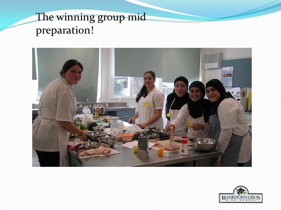 The winning group mid preparation!