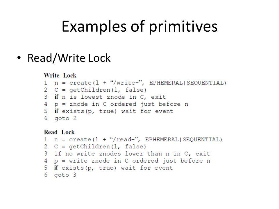 Examples of primitives Read/Write Lock