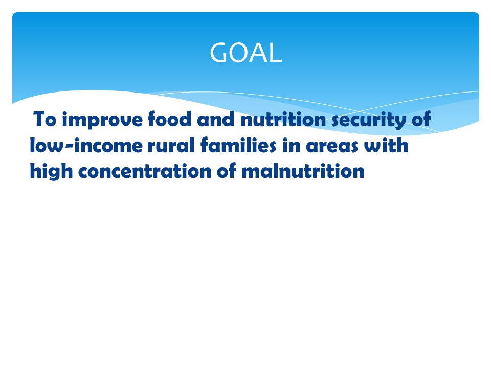 To build institutional and individual capacity and coordination regarding food and nutrition security; To increase knowledge on food and nutrition security concepts at the national and sub-national levels; To develop capacity for integrating food and nutrition security into national development policies, strategies, plans and programme ; To build capacity for generating information on food and nutrition security for appropriate assessment, monitoring and evaluation; and To increase technical knowledge and develop relevant skills on food and nutrition and related topics specifically, food – based interventions Objectives