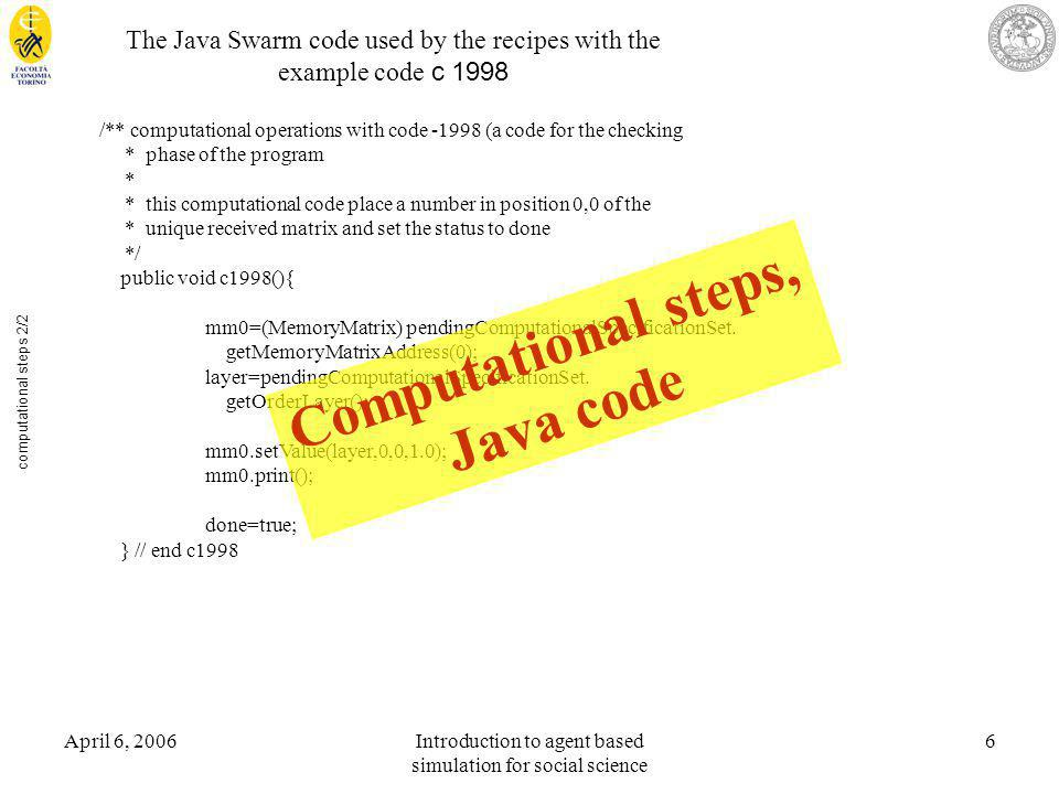 April 6, 2006Introduction to agent based simulation for social science 6 computational steps 2/2 The Java Swarm code used by the recipes with the exam