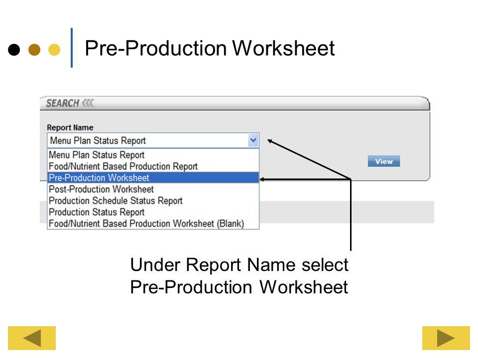 Menu Plan & Production Reports