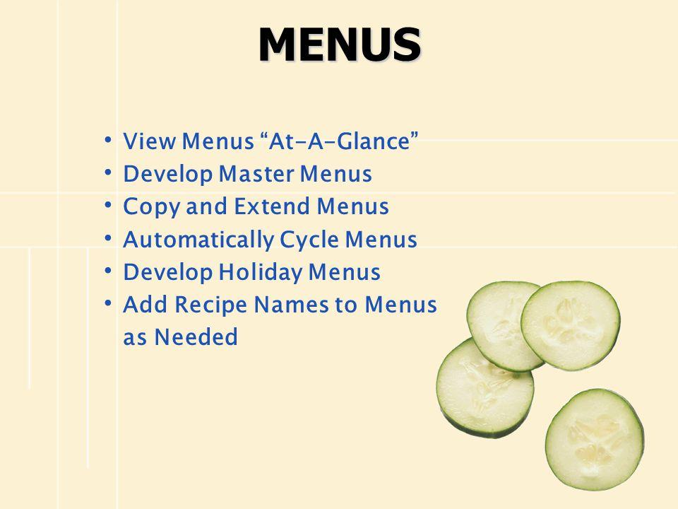 MENUS View Menus At-A-Glance Develop Master Menus Copy and Extend Menus Automatically Cycle Menus Develop Holiday Menus Add Recipe Names to Menus as N