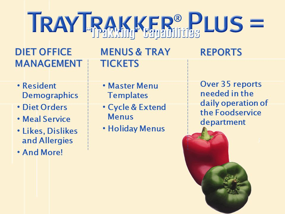 DIET OFFICE MANAGEMENT Resident Demographics Diet Orders Meal Service Likes, Dislikes and Allergies And More! MENUS & TRAY TICKETS Master Menu Templat