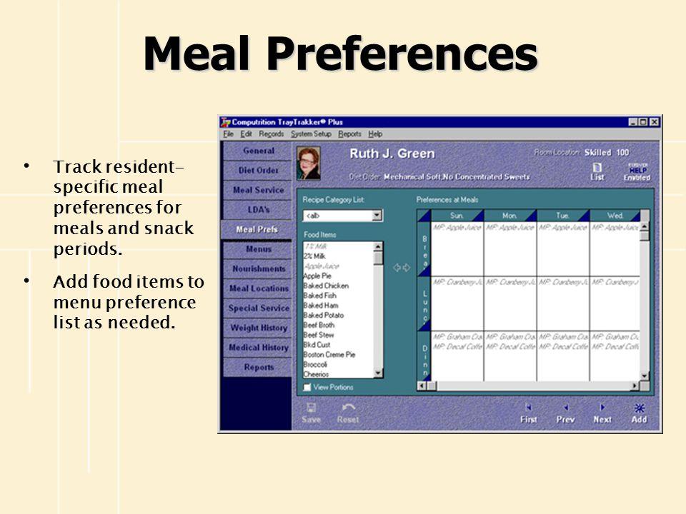MENUS View Menus At-A-Glance Develop Master Menus Copy and Extend Menus Automatically Cycle Menus Develop Holiday Menus Add Recipe Names to Menus as Needed