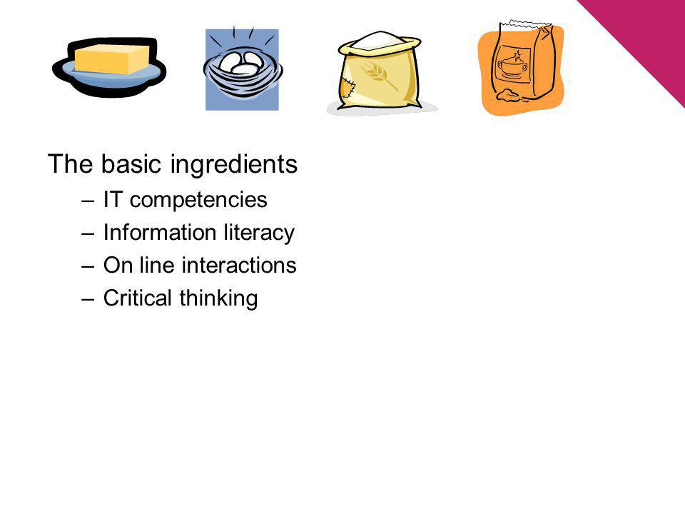 The basic ingredients –IT competencies –Information literacy –On line interactions –Critical thinking