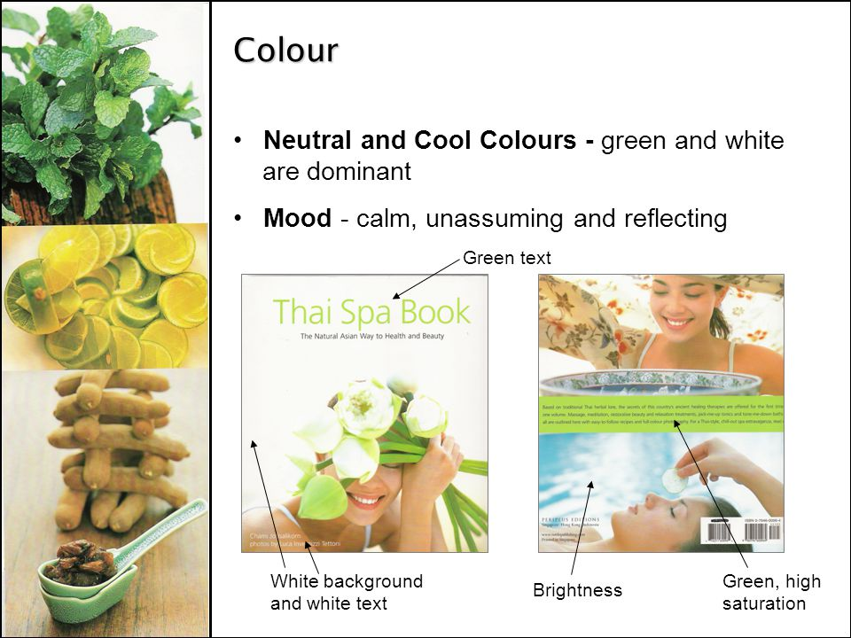 Colour Neutral and Cool Colours - green and white are dominant Mood - calm, unassuming and reflecting Green text White background and white text Brightness Green, high saturation