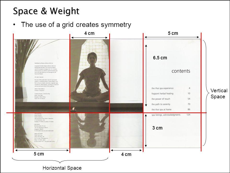 The use of a grid creates symmetry 5 cm 4 cm 5 cm 4 cm 6.5 cm 3 cm Vertical Space Horizontal Space
