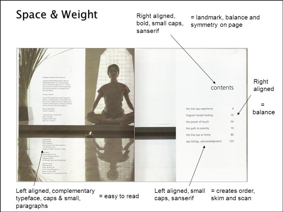 Space & Weight Left aligned, small caps, sanserif Right aligned, bold, small caps, sanserif Right aligned Left aligned, complementary typeface, caps & small, paragraphs = landmark, balance and symmetry on page = easy to read = creates order, skim and scan = balance
