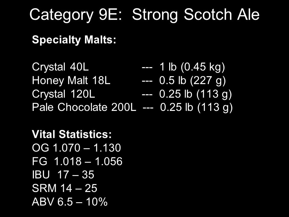 Category 9E: Strong Scotch Ale Extract: English Pale Ale 14.5 lb (6.57 kg) Munich LME 0.25 lb (113 g) OR All Grain: English Pale Ale Malt 20 lb (9.07 kg) Munich Malt 0.5 lb (227 g) Single infuse 1 hour at 158F Hops: EKG 5%AA 60 min 1.6oz (45g) IBU 26.4, EKG 5%AA 10 min 0.5oz (14g) IBU 1.7 Yeast: WLP001 4 vials Ferment at 65F.