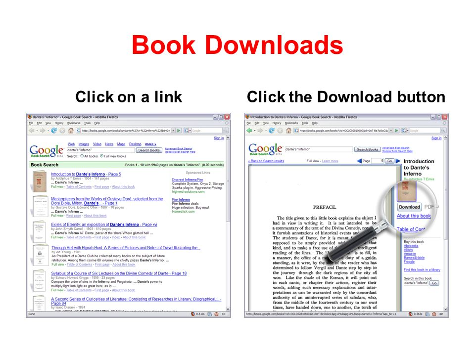 Book Downloads Click on a linkClick the Download button