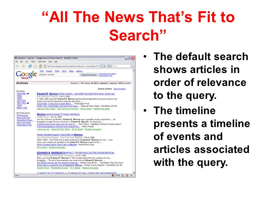 All The News Thats Fit to Search The default search shows articles in order of relevance to the query. The timeline presents a timeline of events and