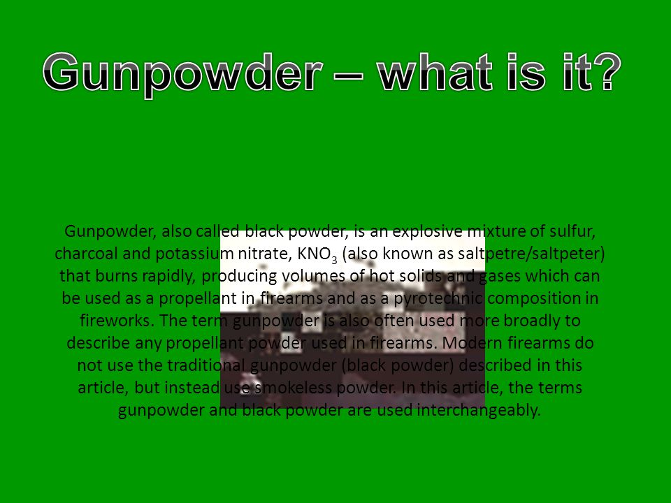 Gunpowder was discovered in China in the 9th century by Taoist monks or alchemists searching for an elixir of immortality.