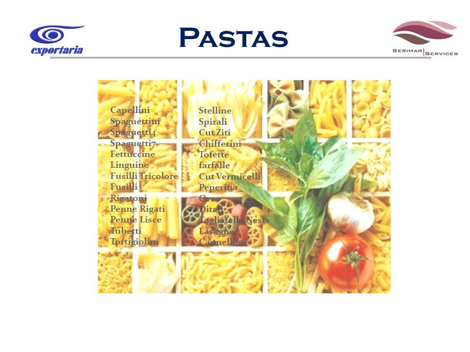 Capellini Spaguettini Spaguetti4 Spaguetti7 Fettuccine Linguine Fusilli Tricolore Fusilli Rigatoni Penne Rigati Penne Lisce Tubetti Tortigiolini Stell