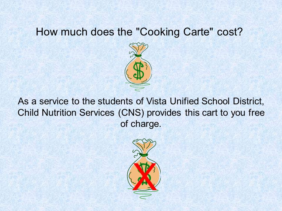 As a service to the students of Vista Unified School District, Child Nutrition Services (CNS) provides this cart to you free of charge.
